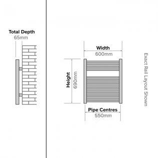 Duchy Standard Straight Towel Rail 690mm H X 600mm W - Chrome