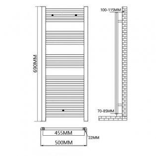 Duchy Standard Straight Towel Rail 690mm H X 500mm W - Anthracite Grey