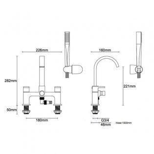 Duchy Storm Bath Shower Mixer Tap Deck Mounted - Chrome