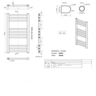 Duchy Treviso Straight Towel Rail 800mm H x 500mm W - Chrome