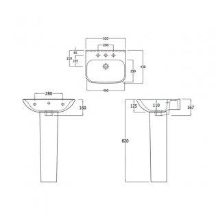 Duchy Violet Basin & Full Pedestal 520mm Wide 1 Tap Hole