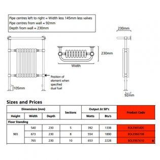 EcoRad Priory Radiator Towel Rail, 965mm H x 540mm W, White/Chrome