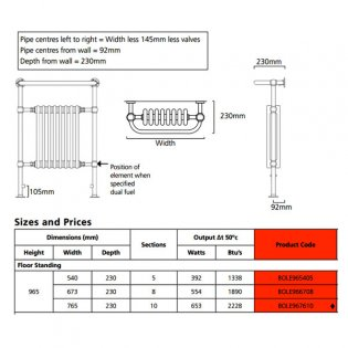 EcoRad Priory Radiator Towel Rail, 965mm H x 765mm W, White/Chrome