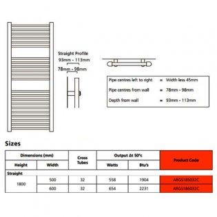 EcoRad Solace Straight Ladder Towel Rail, 1800mm H x 500mm W, Chrome