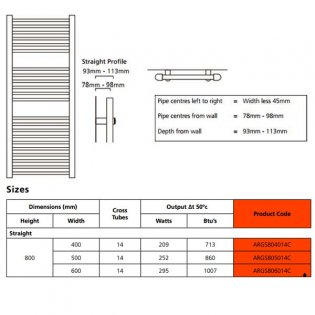 EcoRad Solace Straight Ladder Towel Rail, 800mm H x 600mm W, Chrome