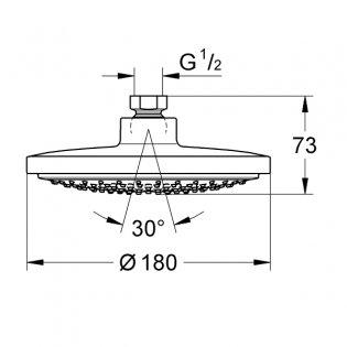 Grohe Euphoria Cosmopolitan Shower Head 180mm Diameter - Chrome