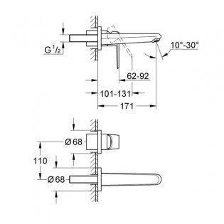 Grohe Eurodisc Cosmopolitan M-Size 2 Hole Basin Mixer Tap - Chrome