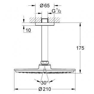 Grohe Rainshower Cosmopolitan 210mm Shower Head with Ceiling Arm - Chrome