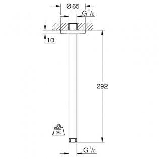 Grohe Rainshower Ceiling Mounted Shower Arm 292mm Length - Chrome