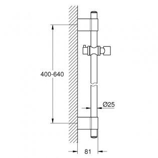 Grohe Relexa Shower Rail, 600mm High, Chrome