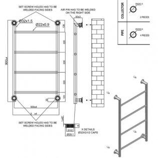 Heatwave Ballymore Electric Designer Towel Rail 900mm H x 560mm W - Chrome