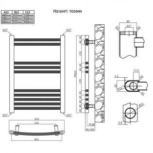 Heatwave Hamilton Curved Heated Towel Rail 700mm H x 400mm W - Chrome