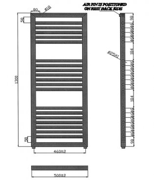Heatwave Lambourn Designer Heated Towel Rail 1300mm H x 500mm W - Chrome