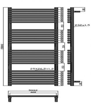 Heatwave Oxfordshire Designer Heated Towel Rail 1500mm H x 500mm W - Anthracite
