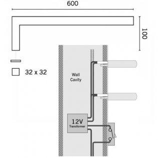 Heatwave Elcot Electric Designer Square Towel Rail Open Ended 32mm H x 600mm W - Chrome