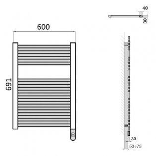 Heatwave Richmond Electric Straight Towel Rail 691mm H x 600mm W - Chrome