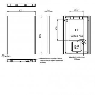 HiB Connect 60 Designer LED Bathroom Mirror 800mm H x 600mm W