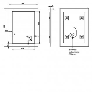 HiB Element 60 LED Bathroom Mirror with Charging Frame 800mm H x 600mm W