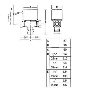 Honeywell V4073A1088 28mm Motorised Midposition Diverter Valve