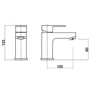 Hudson Reed Art Mini Mono Basin Mixer Tap Single Handle with Push Button Waste - Chrome