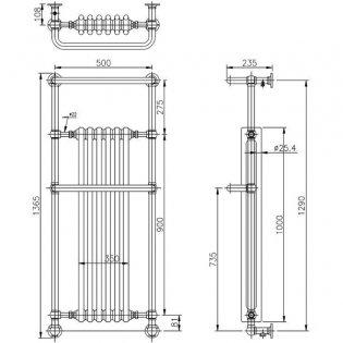 Hudson Reed Brampton Radiator Heated Towel Rail 1365mm H x 575mm W White/Chrome
