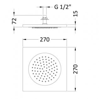 Hudson Reed Ceiling Tile Square Fixed Shower Head, 270mm x 270mm, Chrome