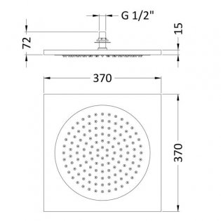 Hudson Reed Ceiling Tile Square Fixed Shower Head, 370mm x 370mm, Chrome