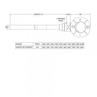 Premier Standard Heating Element 600 Watts - Chrome