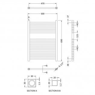 Heatwave Electric Heated Towel Rail 690mm H x 500mm W - Chrome