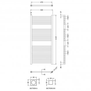 Hudson Reed Eton Electric Heated Towel Rail 1100mm H x 500mm W - Chrome