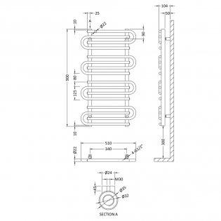 Heatwave Designer Heated Towel Rail 900mm H x 510mm W - Chrome