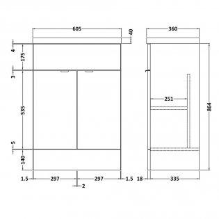 Hudson Reed Fitted Floor Standing Vanity Unit with Basin 600mm Wide - Hacienda Black