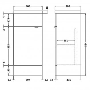 Hudson Reed Fitted Floor Standing Vanity Unit with Basin 400mm Wide - Hacienda Black