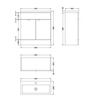 Hudson Reed Fitted Floor Standing Vanity Unit with Basin 800mm Wide - Hacienda Black