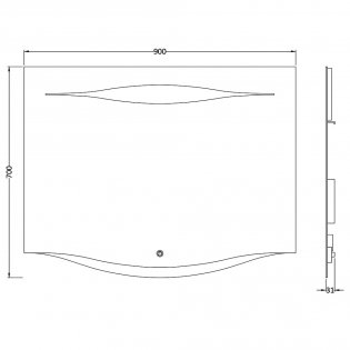 Hudson Reed Iona Touch Sensor Mirror, 700mm High x 900mm Wide - Silver