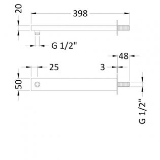 Hudson Reed Large Rectangular Wall Mounted Shower Arm, 355mm Length, Chrome