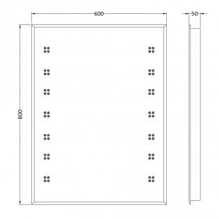 Hudson Reed Lucid Bathroom Mirror 800mm H x 600mm W - Chrome