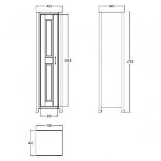 Hudson Reed Tall Storage Unit, 465mm Wide, Floor Standing, Natural Walnut