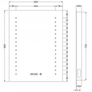 Hudson Reed Panaroma Touch Sensor Backlit Mirror 800mm H x 600mm W