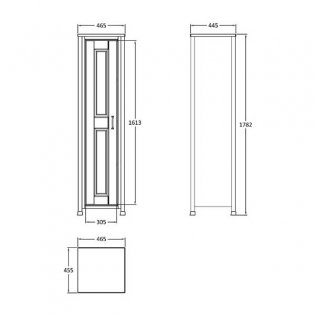 Hudson Reed Tall Storage Unit, 465mm Wide, Floor Standing Pistachio