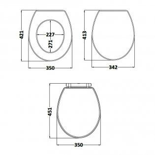 Hudson Reed Richmond Soft Close Toilet Seat Chrome Hinges - Twilight Blue