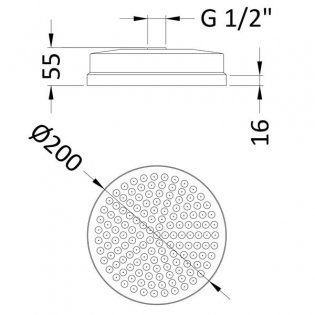 Hudson Reed Tec 8 Inch Fixed Shower Head, 200mm Diameter, Chrome