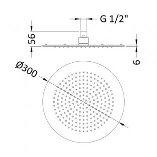 Hudson Reed Round Fixed Shower Head, 300mm Diameter, Stainless Steel