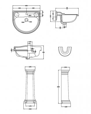 Hudson Reed Ryther Basin and Full Pedestal 600mm Wide - 1 Tap Hole