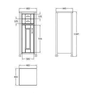 Hudson Reed Stone Grey Tall Boy Storage Unit, 465mm Wide, Floor Standing