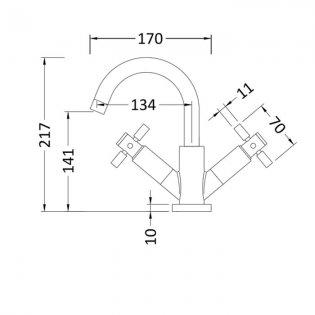 Hudson Reed Tec Crosshead Cloakroom Mono Basin Mixer Tap Dual Handle Push Button Waste - Chrome