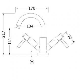 Hudson Reed Tec Lever Cloakroom Mono Basin Mixer Tap Dual Handle - Chrome
