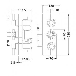 Hudson Reed Tec Pura Plus Concealed Shower Valve Triple Handle - Chrome