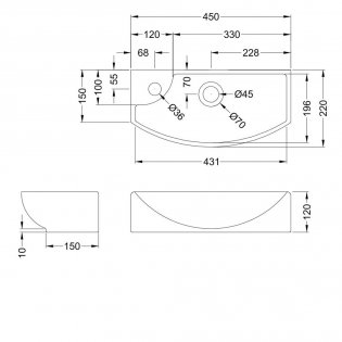 Hudson Reed Vessel Cloakroom Basin 450mm Wide 1 LH Tap Hole