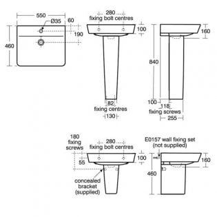 Ideal Standard Concept Air Cube Basin with Semi Pedestal 550mm Wide - 1 Tap Hole